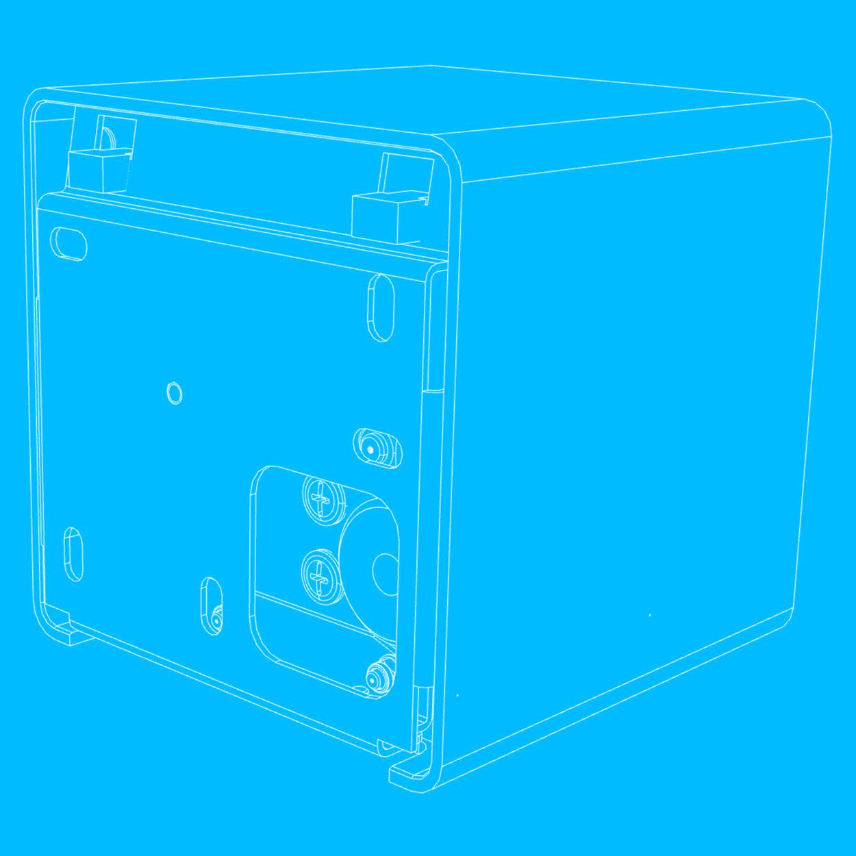 Enomics Boxen, Technische Zeichnung, Rückseite
